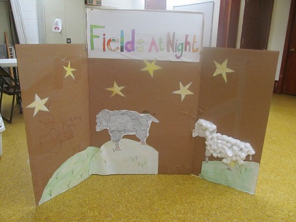 cardboard scenery - fields at night